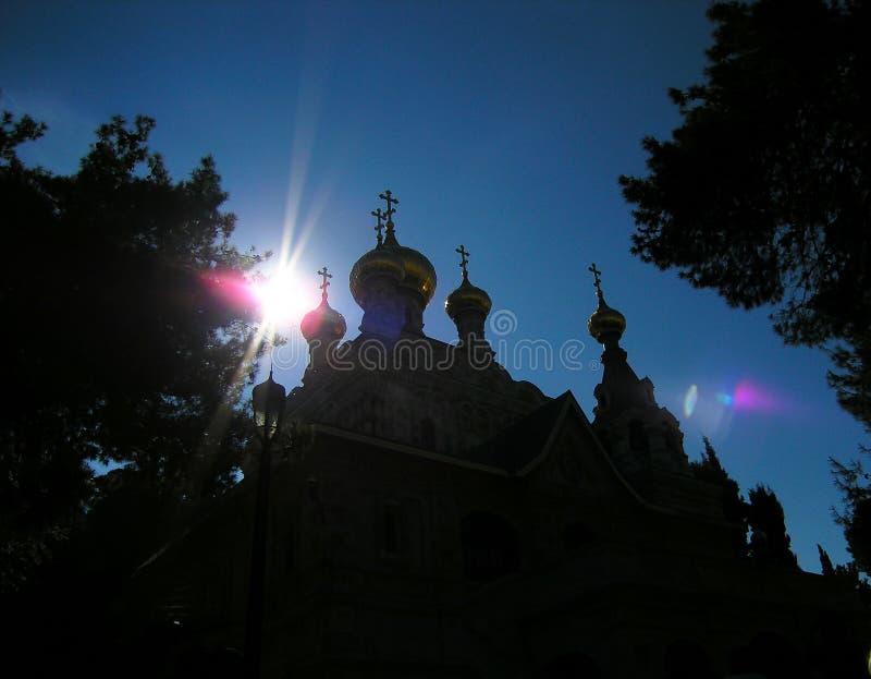 L'église de Mary Magdalene est une église orthodoxe russe située sur le mont des Oliviers image libre de droits