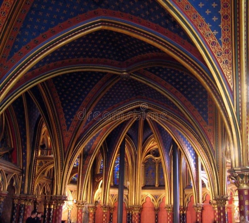 L'église de Sainte-Chapelle est située sur ÃŽle de la Cité, une distance courte de Notre-Dame images libres de droits
