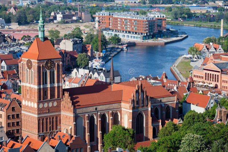L'église de St John et le paysage urbain de Danzig photographie stock libre de droits