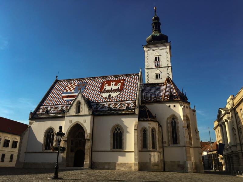 L'église de St Mark, Zagreb, Croatie images libres de droits