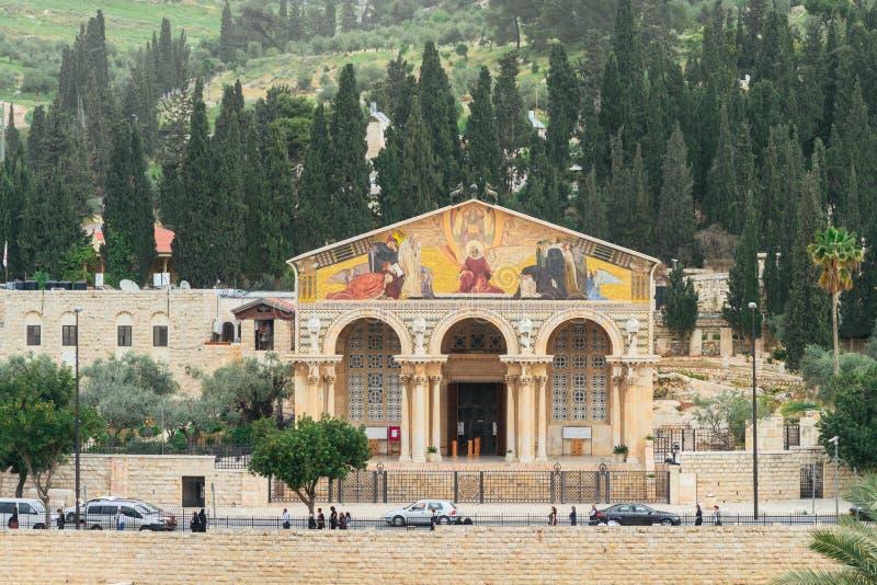 L'église de toutes les nations sur Olive Mountain à Jérusalem photo stock