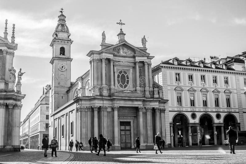 L'église du saint Carlo Borromeo, Turin, Italie photos stock