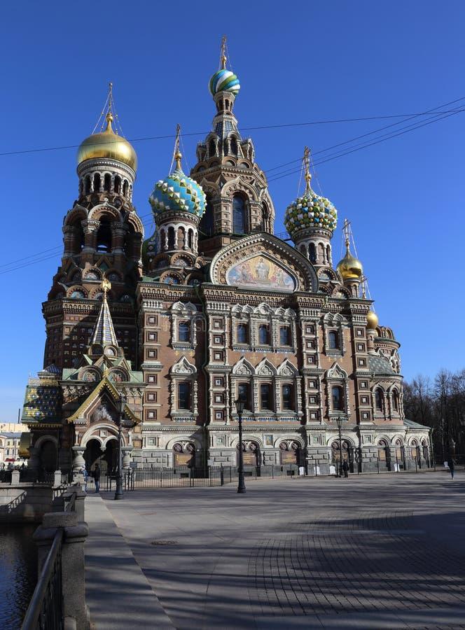 L'église du sauveur sur le sang renversé, matin, St Petersbourg images stock