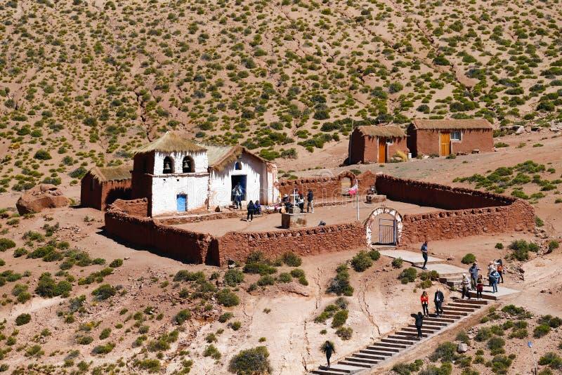 L'église du village de Machuca, désert d'Atacama, Chili image libre de droits