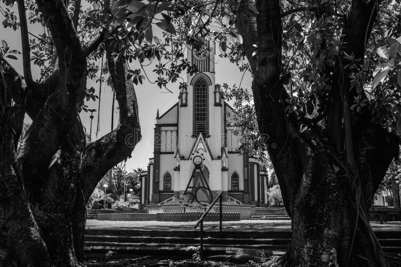 L'église entre deux arbres photographie stock libre de droits