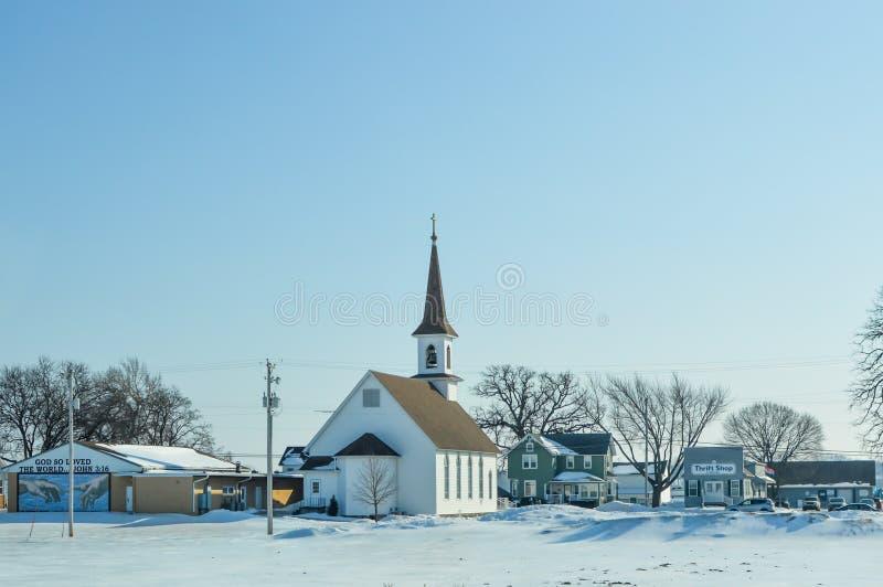 L'église luthérienne de Saint John dans des coins de Slades, le Wisconsin photographie stock libre de droits