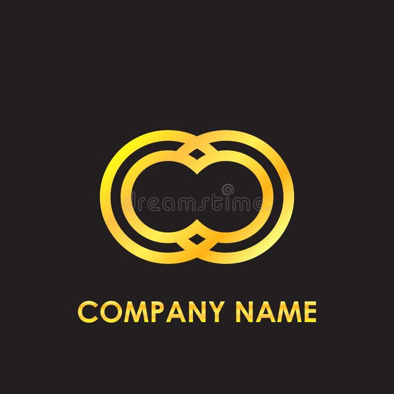 L'or élégant de cc de lettre initiale a reflété le calibre minuscule de logo à l'arrière-plan noir images stock
