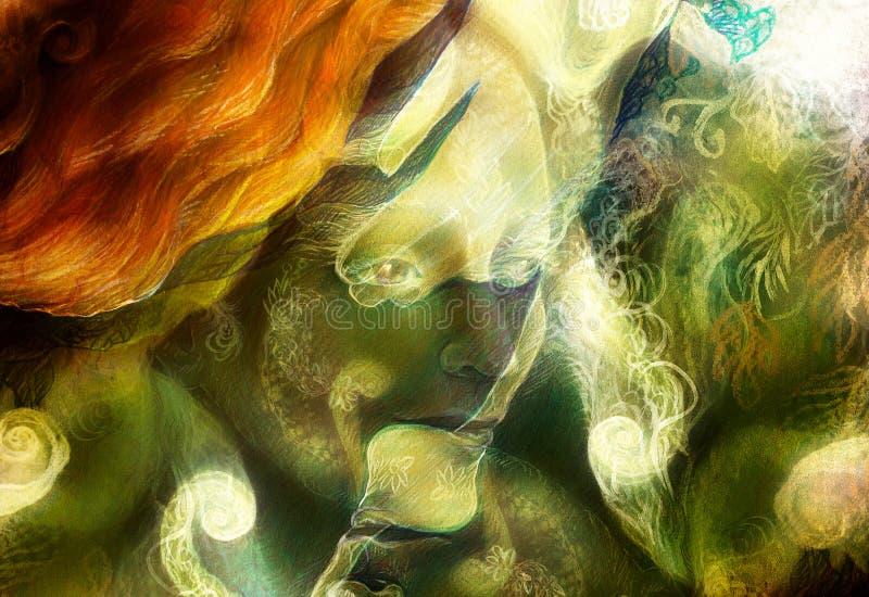 L'élément chauffant elven les lumières féeriques de créature et d'énergie de femme collage illustration stock