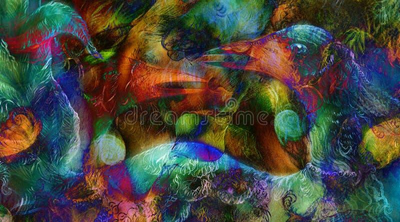 L'élément chauffant elven les lumières féeriques de créature et d'énergie de femme, et l'oiseau p illustration libre de droits