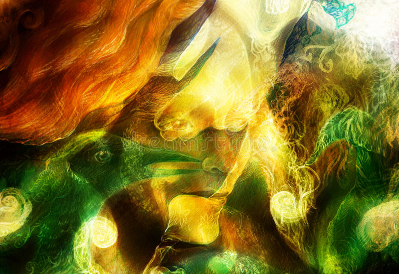 L'élément chauffant elven les lumières féeriques de créature et d'énergie de femme, et le collage de Phoenix d'oiseau illustration stock