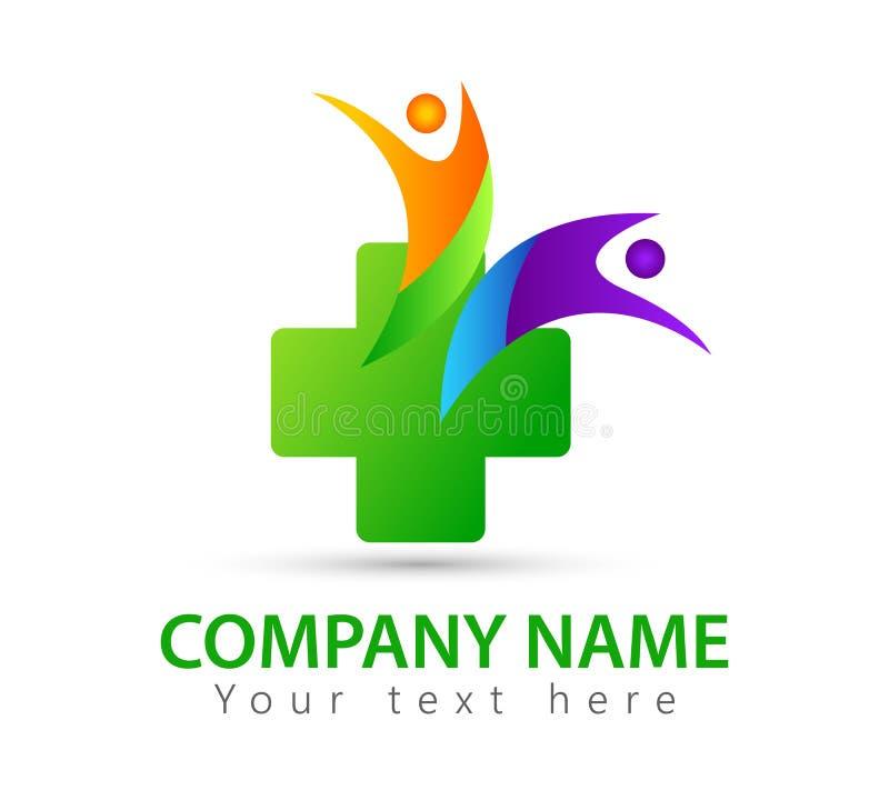 L'élément d'icône de logo de concept de santé de famille de soins médicaux se connectent le fond blanc illustration libre de droits