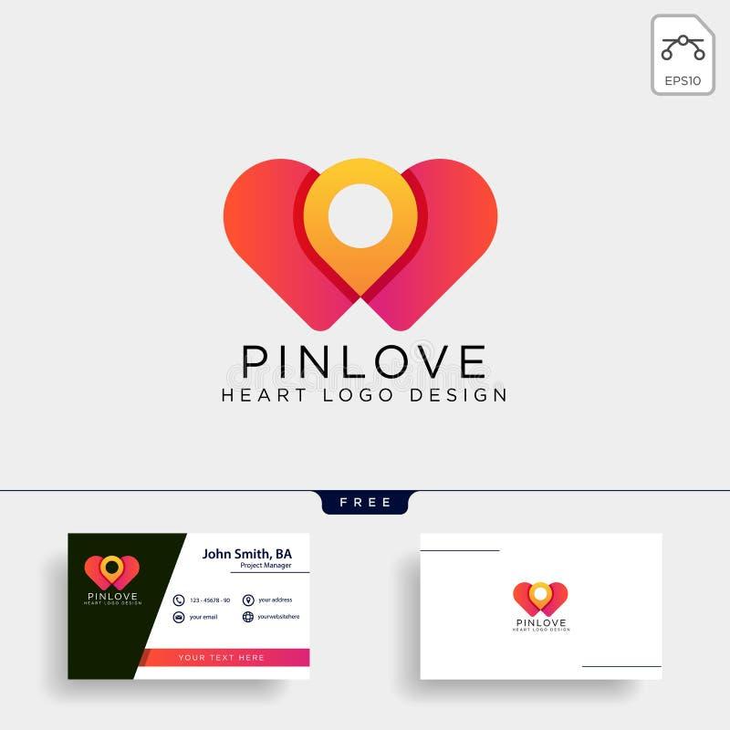 L'élément d'icône d'illustration de vecteur de calibre de logo de marque d'emplacement de point d'amour a isolé illustration de vecteur