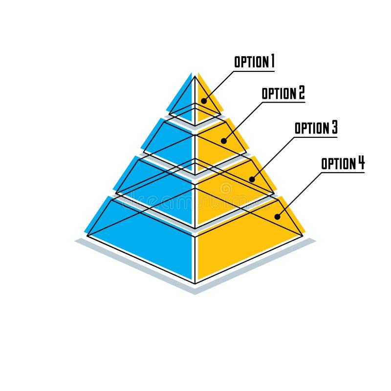 L'élément d'Infographics, 3d a posé la pyramide, illustration de vecteur illustration libre de droits