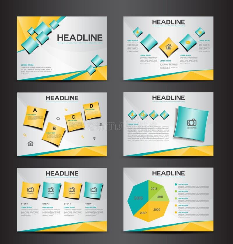 L'élément infographic de présentation universelle orange et verte et la conception plate de calibre d'icône de symbole d'ampoule  illustration de vecteur