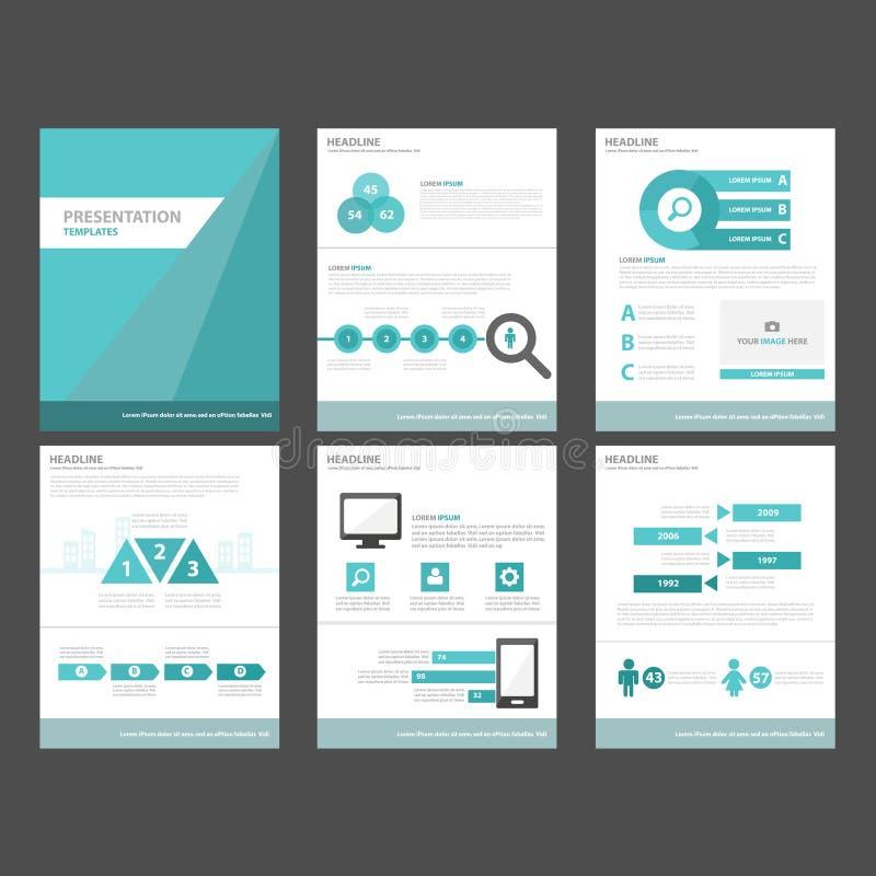 l'élément infographic du polygone 6 bleu et la conception plate de calibres de présentation d'icône ont placé pour le site Web de illustration de vecteur
