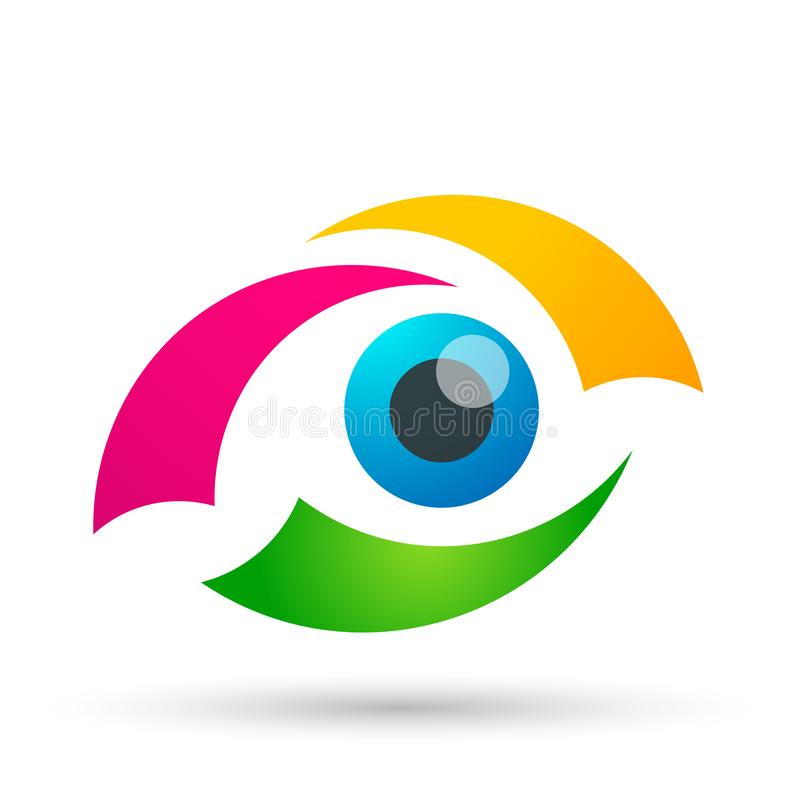 L'élément médical d'icône de logo de concept de santé de famille de globe de soin d'oeil se connectent le fond blanc illustration de vecteur
