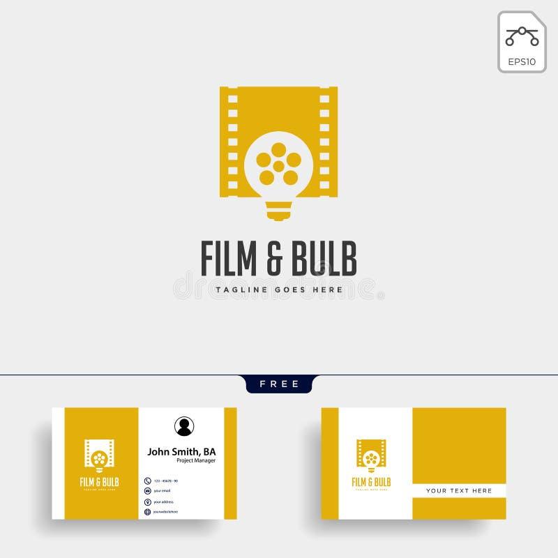 l'élément simple d'icône d'illustration de vecteur de calibre de logo d'idée d'ampoule de film a isolé illustration libre de droits