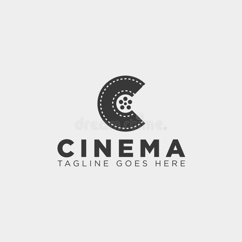 l'élément simple d'icône d'illustration de vecteur de calibre de logo de la lettre C de couleur minimale de noir a isolé illustration libre de droits