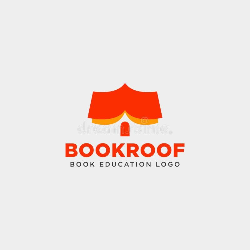 l'élément simple d'icône d'illustration de vecteur de calibre de logo de librairie de toit ou de maison de livre a isolé illustration stock