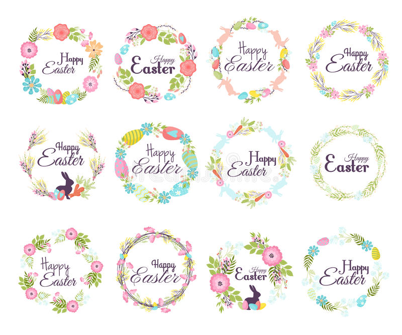 L'élément tiré par la main heureux de décoration de salutation de lettrage de main d'insigne de Pâques et le ressort naturel de g illustration libre de droits