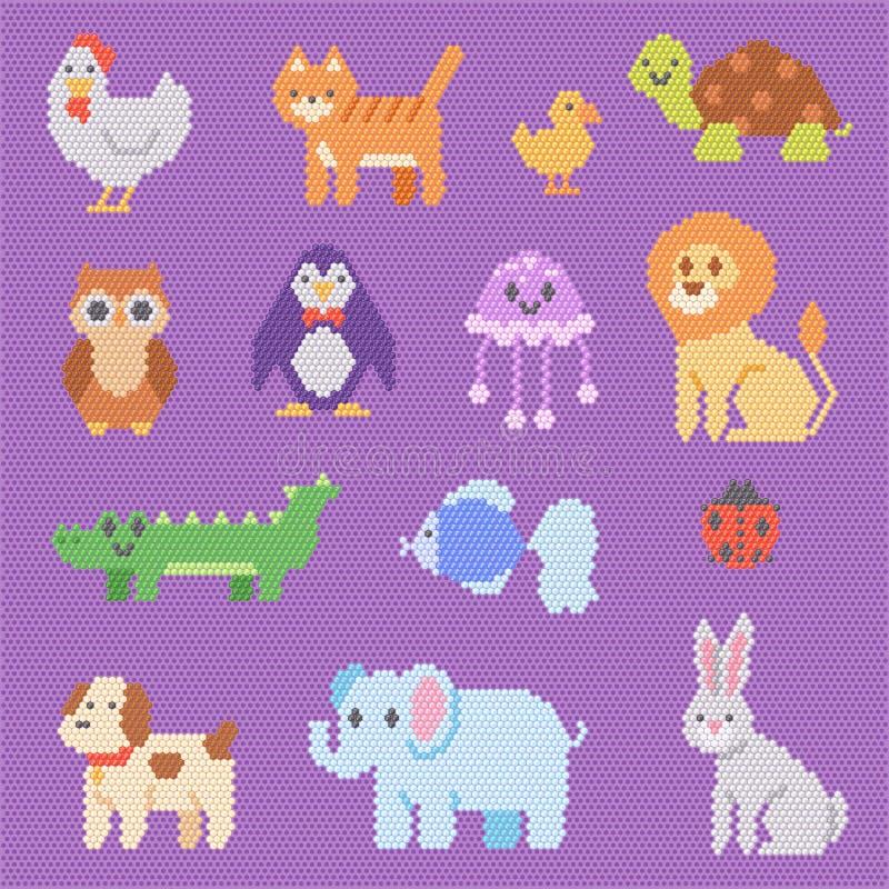 L'éléphant abstrait de chien de chat de caractère de perles animalistic animales de vecteur de mosaïque dans les enfants perlent  illustration stock