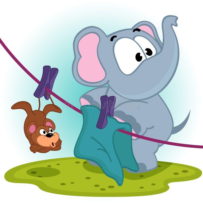 L'éléphant a accroché la souris sèche sur la corde illustration libre de droits