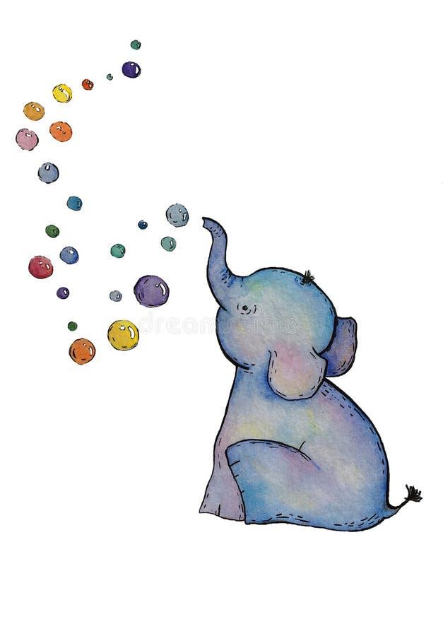 L'éléphant d'aquarelle avec des bulles a isolé des éléments sur le fond blanc illustration stock