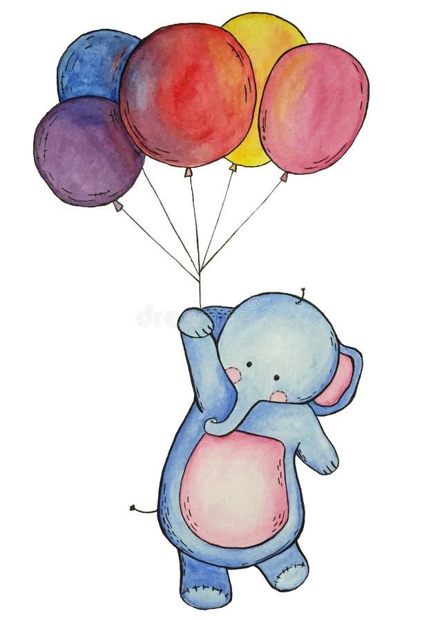 L'éléphant d'aquarelle avec les ballons colorés a isolé des éléments sur le fond blanc illustration libre de droits