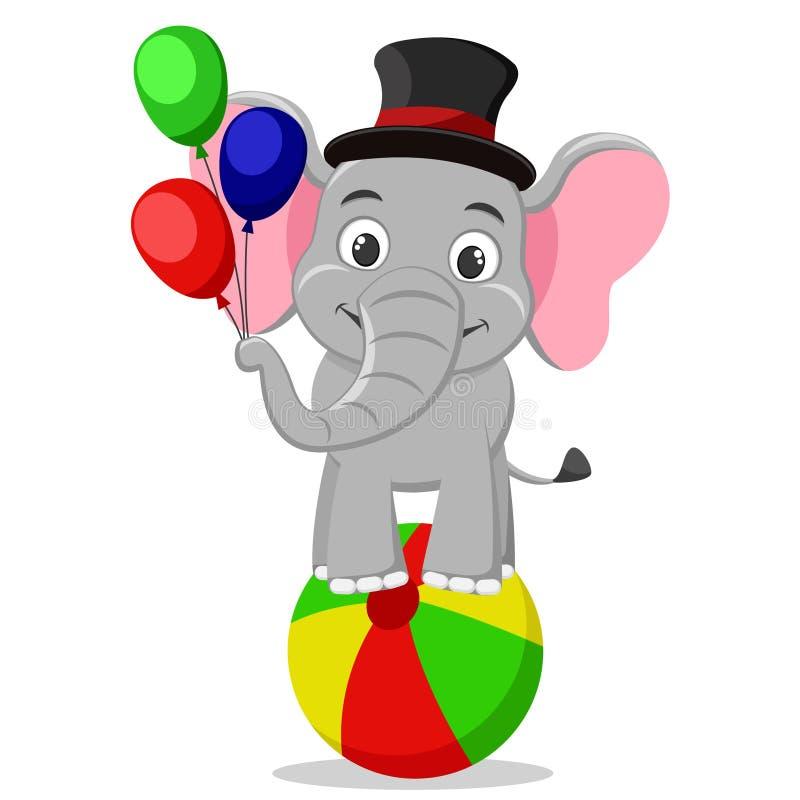 L'éléphant de cirque dans un chapeau se tient sur une boule et tient des ballons sur un blanc illustration de vecteur