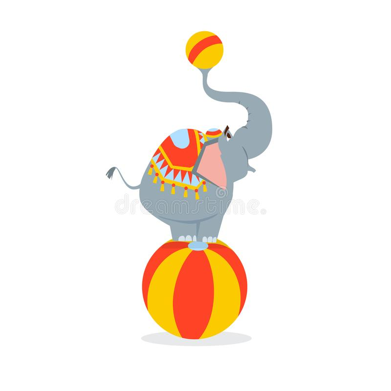 L'éléphant de cirque se tient sur une grande boule et tient une petite boule dans le tronc illustration stock