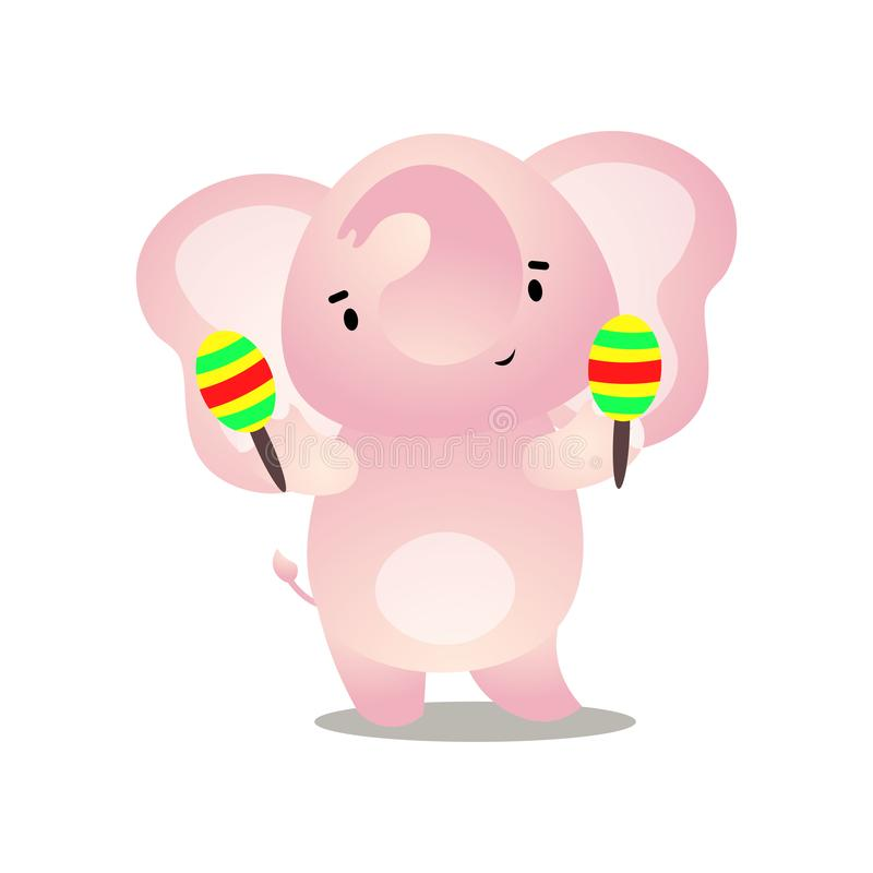 L'éléphant drôle mignon d'enfant des maracas danse et de jeu illustration stock