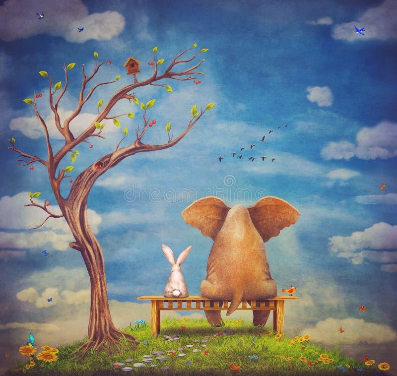 L'éléphant et le lapin se reposent sur un banc illustration libre de droits