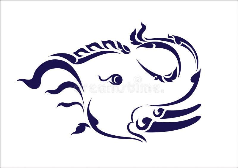 L'éléphant masculin tient un tronc illustration stock