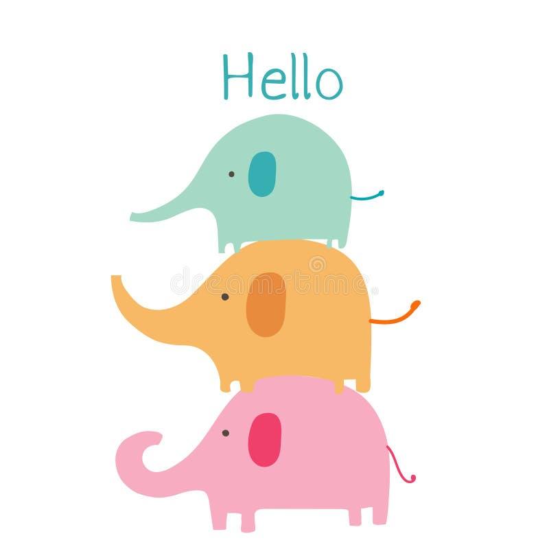 L'éléphant mignon avec indiquent bonjour Caractère d'animal de bébé illustration stock