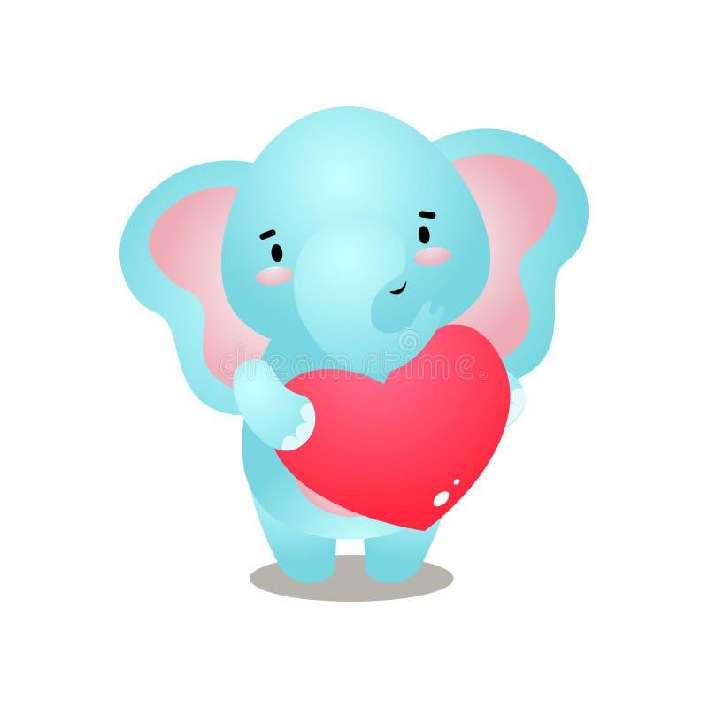 L'éléphant mignon font un cadeau du chocolat en forme de coeur illustration de vecteur