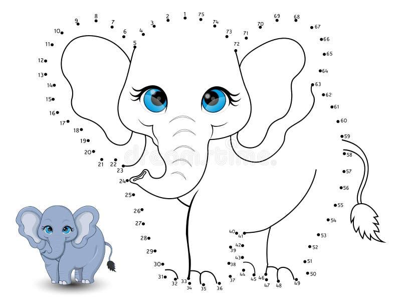 L'éléphant relient les points et les colorent illustration de vecteur