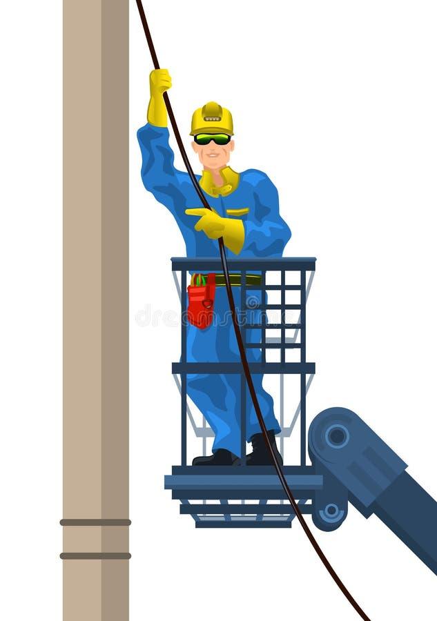 L'électricien monte le fil illustration de vecteur