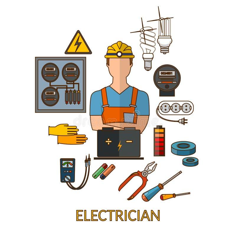 L'électricien professionnel avec l'électricité usine la silhouette illustration de vecteur