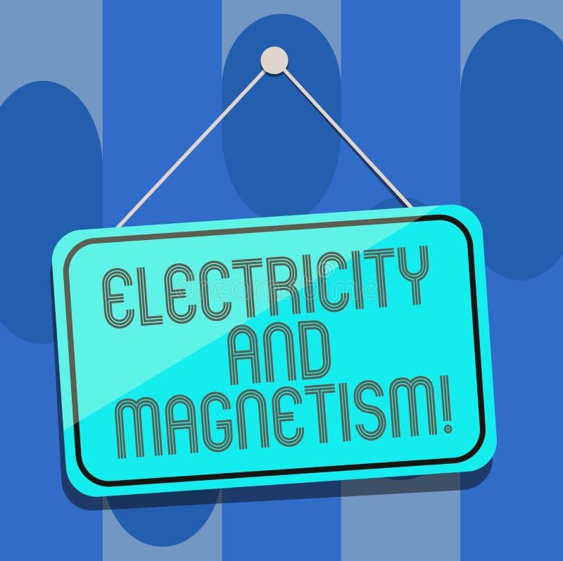 L'électricité et magnétisme des textes d'écriture La signification de concept incarne accrocher à un noyau de blanc de force élec illustration libre de droits