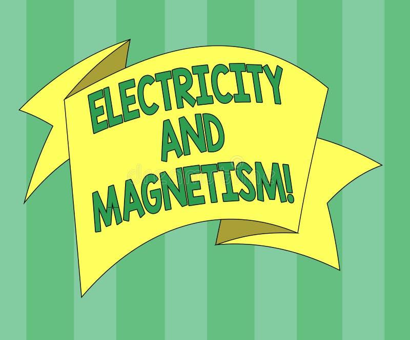 L'électricité et magnétisme des textes d'écriture La signification de concept incarne une force électromagnétique à un noyau 3D p illustration stock