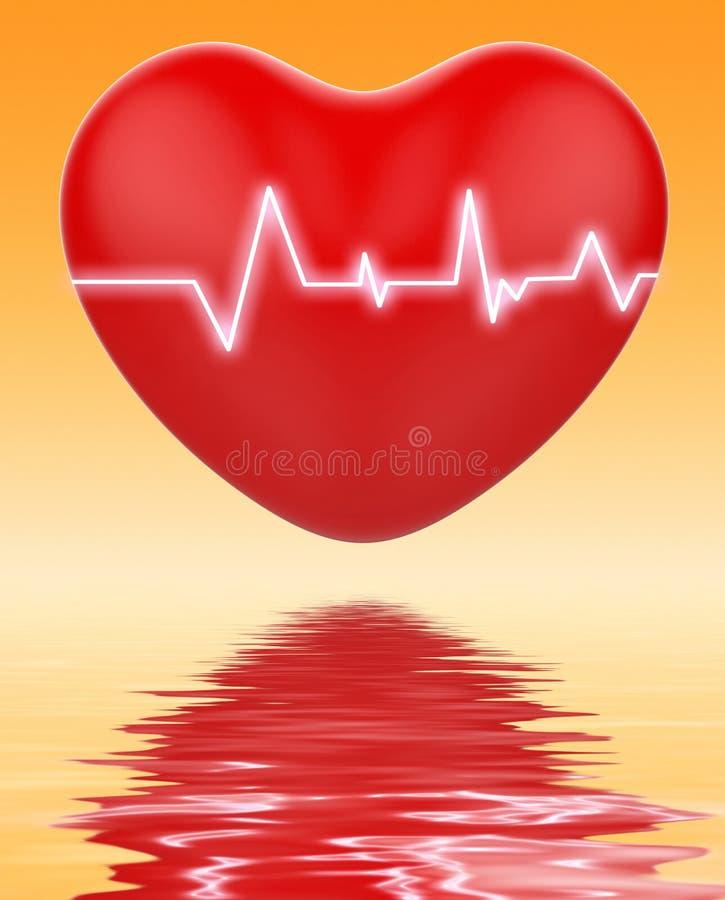 L'électro sur le coeur montre la santé de cardiologie ou de coeur illustration stock