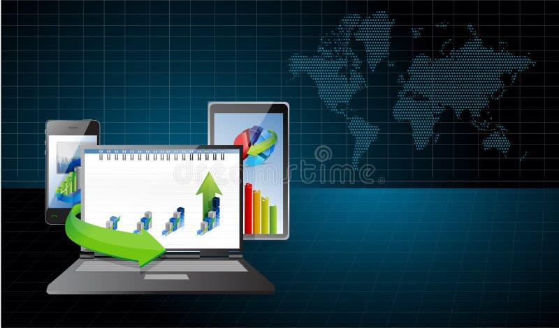 L'électronique d'affaires sous l'illustration de recherches illustration stock