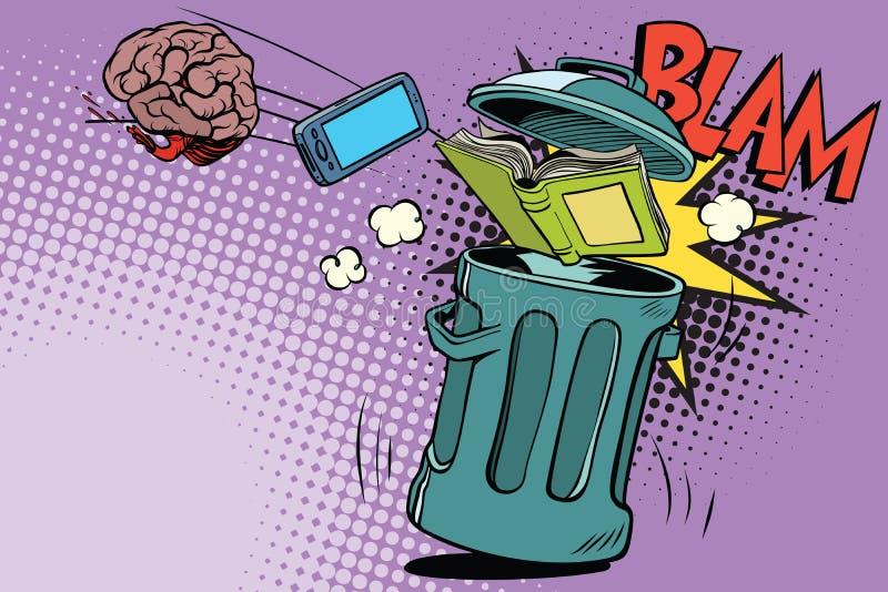 L'électronique de cerveau et un livre jeté dans les déchets illustration de vecteur