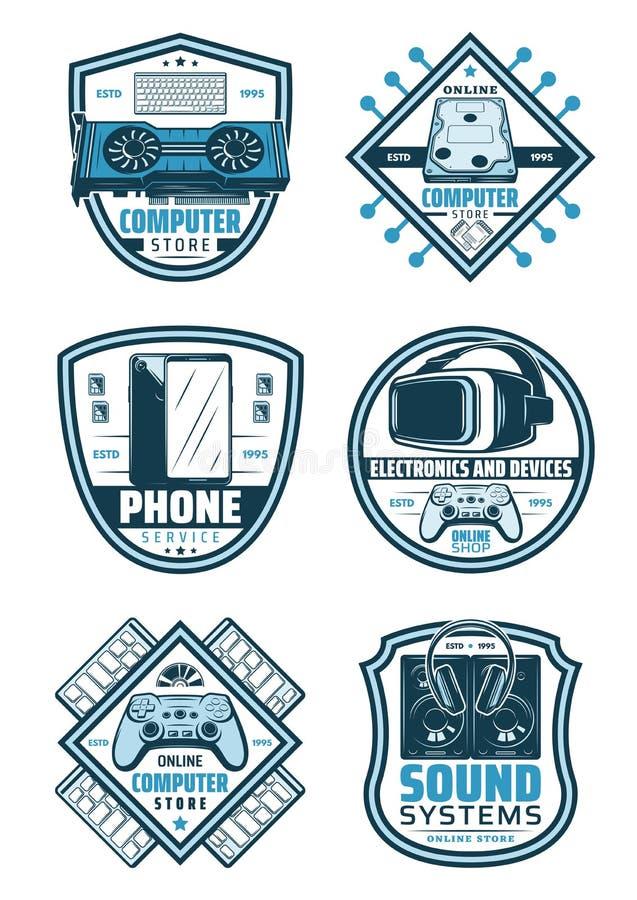 L'électronique et rétro conception de bouclier d'insigne de dispositifs illustration libre de droits