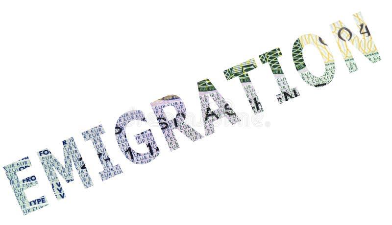 L'émigration de mot photos libres de droits