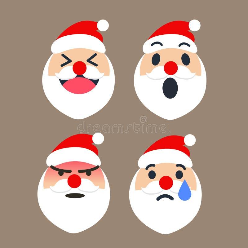 L'émoticône mignonne de Santa Claus a placé pour la saison de Noël, heureux, wouah, fâchée, cri Illustrateur de vecteur illustration libre de droits