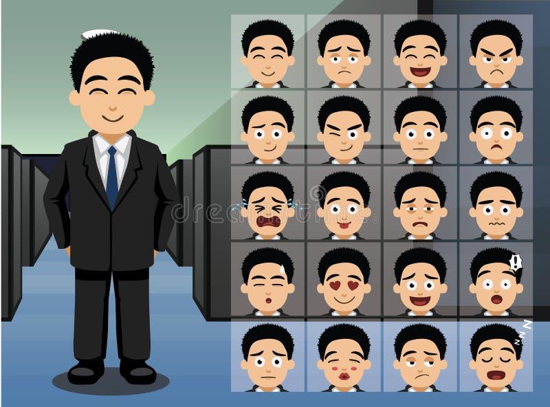 L'émotion asiatique de bande dessinée d'homme d'affaires fait face à l'illustration de vecteur illustration libre de droits
