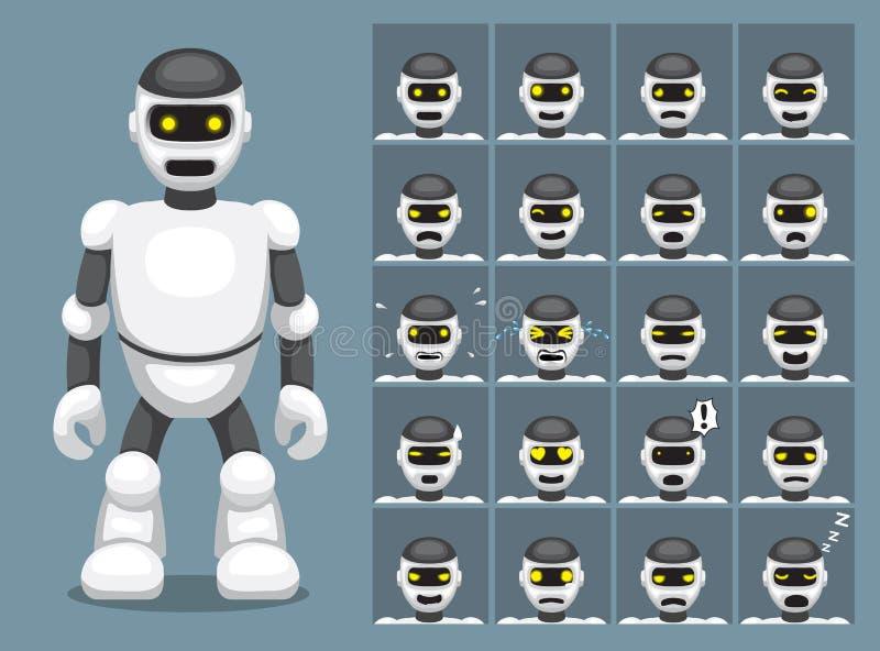 L'émotion blanche de bande dessinée de robot fait face à l'illustration de vecteur illustration stock