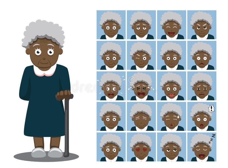 L'émotion de bande dessinée de grand-maman d'afro-américain fait face à l'illustration de vecteur illustration de vecteur
