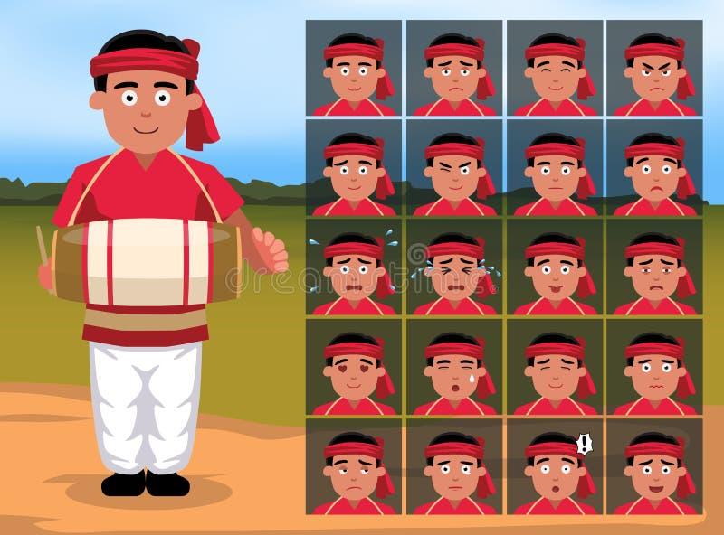 L'émotion indienne de bande dessinée d'homme de Bihu fait face au vecteur Illustration-01 illustration libre de droits
